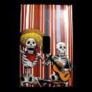 Single Switch Plate Cover, Day of the Dead Skeletons with Instruments, Striped Background