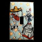 Single Switch Plate Cover, Day of the Dead Skeleton Dancing Couple with Star Background