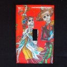 Single Switch Plate Cover, Day of the Dead Dancing Skeleton Couple with Red Background
