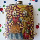 Stainless Steel 6oz. Flask, Dia de Los Muertos Couple Purple and Yellow Background