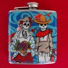 Stainless Steel Flask - 6oz., Day of the Dead Couple with Blue Background