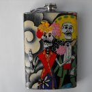 Stainless Steel Flask - 8oz., Day of the Dead Couple with Black and White Background