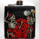 Stainless Steel Flask - 6oz., Day of the Dead Couple with Rose and Black Background