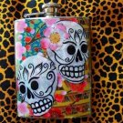 Stainless Steel Flask - 8oz., Day of the Dead Sugar Skull Couple with Flower Background