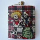 Stainless Steel Flask - 6oz., Day of the Dead Couple with Pink and White Striped Background
