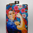 Stainless Steel Flask - 8oz., Rosie the Riveter Flower Background