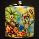 Stainless Steel Flask - 6oz., Day of the Dead Skeletons with Tropical Background