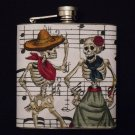 Stainless Steel Flask - 6oz., Day of the Dead Skeletons Dancing Music Note Background