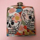 Stainless Steel Flask - 6oz., Day of the Dead Sugar Skulls with Flower Background