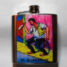 Stainless Steel Flask - 6oz., Loteria Card Print El Baracho