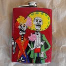 Stainless Steel Flask - 8oz., Day of the Dead Skeleton Couple with Red Background