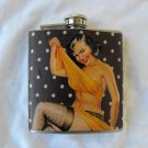 Stainless Steel Flask - 6oz., Pin Up Girl with Polka Dot Background