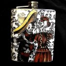 Stainless Steel Flask - 8oz., Day of the Dead Skeleton Couple with Black and White Background