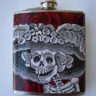 Stainless Steel Flask - 6oz., Day of the Dead Style Catrina with Rose Background
