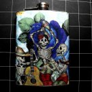 Stainless Steel Flask - 8oz., Day of the Dead Celebrating Skeletons with Flower Background