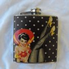 Stainless Steel Flask - 6oz., Pin Up Girl with Black and White Polka Dot Background