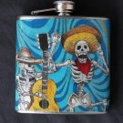 Stainless Steel Flask - 6oz., Day of the Dead Skeletons with Blue Background