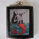 Stainless Steel Flask - 8oz., Day of the Dead Loteria Card Mermaid with Black Background