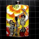 Stainless Steel Flask - 8oz., Day of the Dead Skeletons with Yellow Flower Background