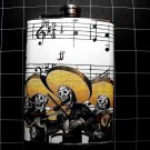 Stainless Steel Flask - 8oz., Day of the Dead Skeletons with Music Note Background