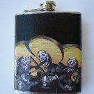 Stainless Steel Flask - 6oz., Day of the Dead Mariachi Band with Black Background