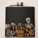 Stainless Steel Flask - 6oz., Day of the Dead Celebrating Skeletons with Black Background