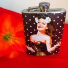 Stainless Steel Flask - 8oz., Pin Up Girl in Black with Black and White Polka Dot Background
