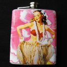 Stainless Steel Flask - 8oz., Hula Pin Up Girl with Pink and White Background