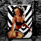 Stainless Steel Flask - 8oz., Pin Up Girl with Zebra Background