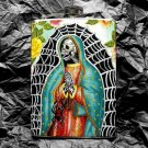 Stainless Steel Flask - 8oz., Day of the Dead Virgin Mary Web Background