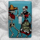 Single Switch Plate Cover, Day of the Dead Dancing Skeleton Couple with Blue Background