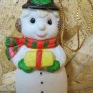 Retro Christmas Ornament, Snowman with Present
