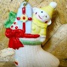 Retro Christmas Ornament, White Stocking with Toys