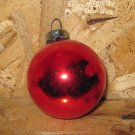 Vintage Christmas Ornament, Red Glass Ball