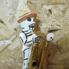 Ceramic Day of the Dead Figure, Man in Light Orange Hat Playing Instrument