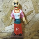 Clay Day of the Dead Figure, Woman in Dress with Cloth Pink Shawl