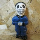 Quinoa Clay Day of the Dead Figure, Man in Blue Suit Black Hat