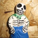 Ceramic Day of the Dead Figure, Woman in Blue Skirt with Green Shawl