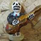 Ceramic Day of the Dead Figure, Man in Black Suit Playing Stand Up Bass