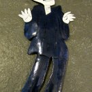 Hand Painted Metal Day of the Dead Figure, Man in Blue Suit and Hat