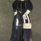 Hand Painted Metal Day of the Dead Figure, Woman in Dark Purple Dress with Purse