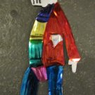 Hand Painted Tin Day of the Dead Figure, Man in Red Shirt with Blue Pants Wearing Scarf and Hat