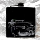 Stainless Steel Flask - 6oz., Black Car with Skeleton in Hat, Black Background