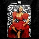 Stainless Steel Flask - 8oz., Pin Up Girl in Red Dress with Black and White Background