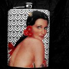 Stainless Steel Flask - 8oz., Pin Up Senorita with Black and White Background