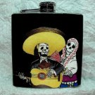 Stainless Steel Flask - 6oz., Day of the Dead Skeleton Couple with Guitar, Black Background