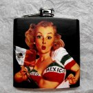 Stainless Steel Flask - 6oz., Pin Up Girl with Mexican Flag Top, Black Background