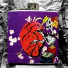 Stainless Steel Flask - 6oz., Skeleton with Heat and Arrow, Purple Flowered Background
