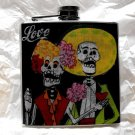 "Stainless Steel Flask - 6oz., Day of the Dead Couple with ""Love"" Banner and Black Background"