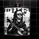 Stainless Steel Flask - 6oz., Day of the Dead Skeleton Playing Guitar with Music Note Background